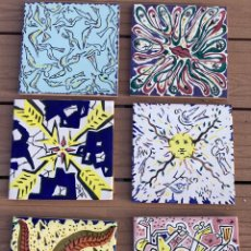 Antiquités: 6 AZULEJOS SALVADOR DALÍ, MADE IN SPAIN. Lote 252249380