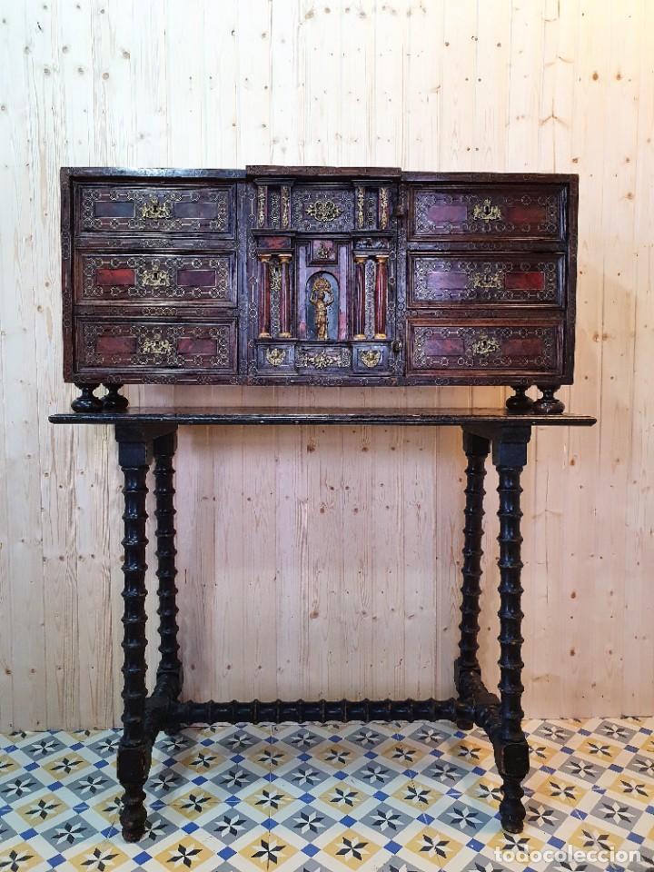 Antigüedades: ANTIGUO BARGUEÑO ITALIANO DE CAREY Y DETALLES DE BRONCE - Foto 11 - 252261850
