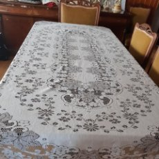 Antigüedades: ANTIGUO MANTEL DE ENCAJE FINO MECANICO.. Lote 252315985