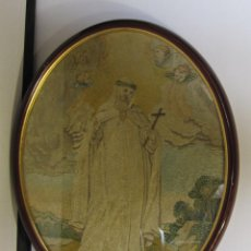 Antigüedades: ANTIGUO BORDADO EN SEDA. SIGLO XVIII? BEATA MARÍA ANA DE JESÚS, ORDEN DE LA MERCED. 42 X 33 CM. Lote 252332220