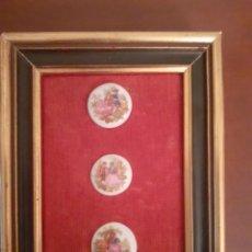 Antigüedades: CUADRO CON TRES PEQUEÑOS MEDALLONES PORCELANA FRAGONARD. Lote 252348565
