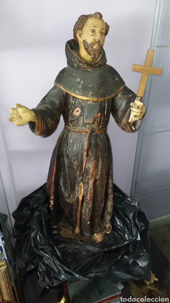 Antigüedades: Gran talla religiosa Francisco de Asís. - Foto 7 - 252444420