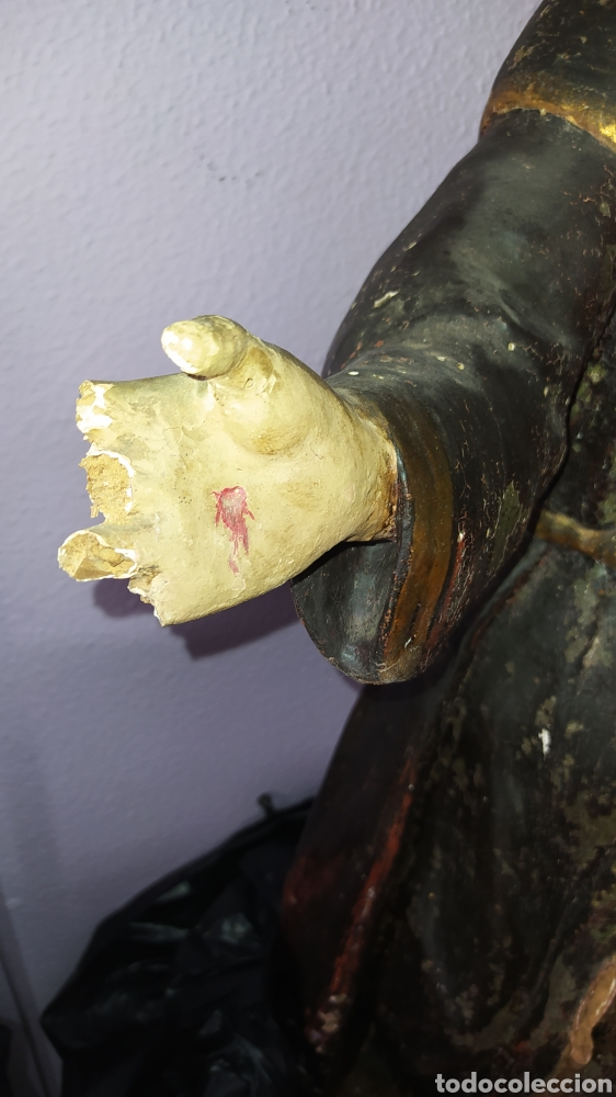 Antigüedades: Gran talla religiosa Francisco de Asís. - Foto 13 - 252444420