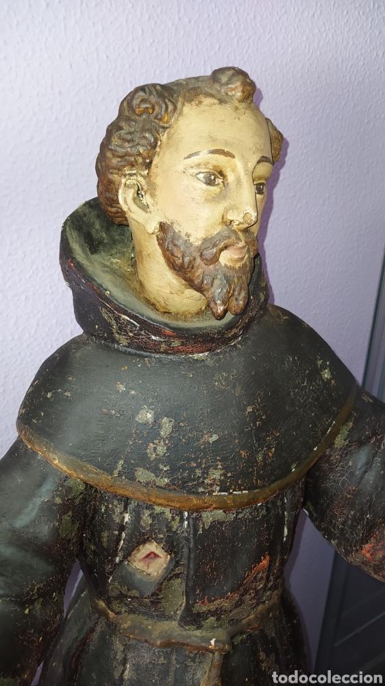 Antigüedades: Gran talla religiosa Francisco de Asís. - Foto 15 - 252444420
