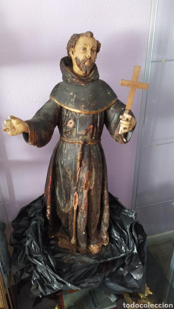 GRAN TALLA RELIGIOSA FRANCISCO DE ASÍS. (Antigüedades - Religiosas - Artículos Religiosos para Liturgias Antiguas)