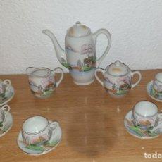Antigüedades: JUEGO DE TE CAFE JAPONES FINA PORCELANA CON SELLO Y CARA DE JAPONESA EN BASE DE CADA TAZA. Lote 252473020
