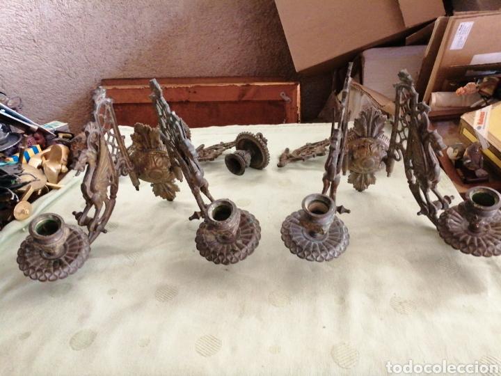 Antigüedades: Lote de 7 apliques de bronce portavelas - Foto 12 - 252151335
