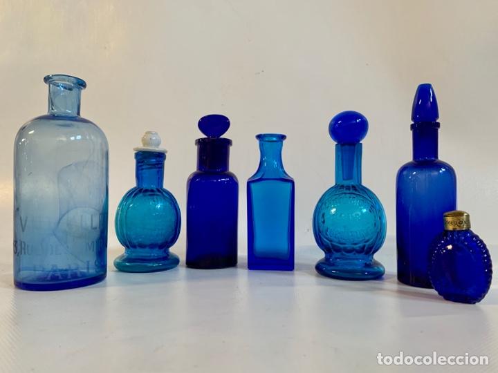 COLECCIÓN FRASCOS FARMÁCIA- VIDRIO COLOR (Antigüedades - Cristal y Vidrio - Farmacia )
