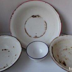 Antigüedades: LOTE DE 3 PALANGANAS Y 1 CUENCO DE CHAPA ESMALTADA. Lote 252672645