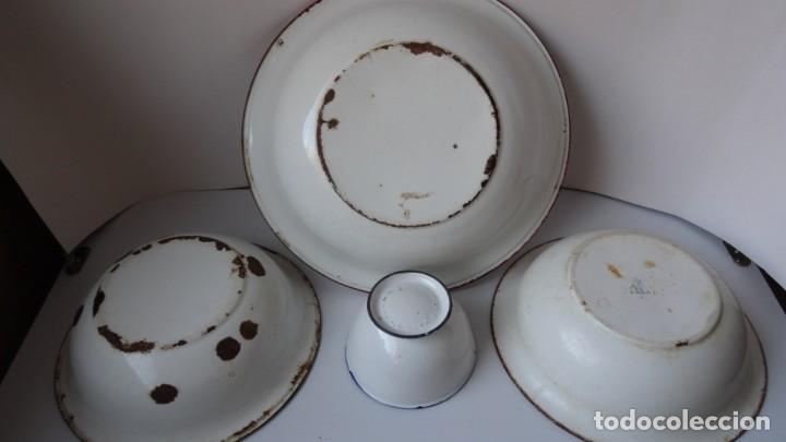 Antigüedades: LOTE DE 3 PALANGANAS Y 1 CUENCO DE CHAPA ESMALTADA - Foto 6 - 252672645