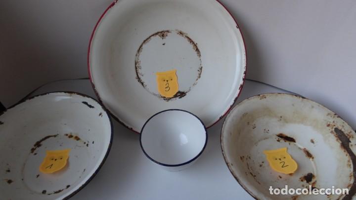 Antigüedades: LOTE DE 3 PALANGANAS Y 1 CUENCO DE CHAPA ESMALTADA - Foto 11 - 252672645