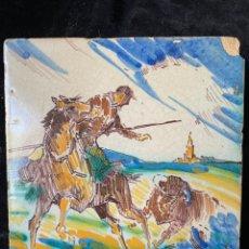 Oggetti Antichi: AZULEJO PINTADO A MANO CON MOTIVO DE PICADOR CON TORO Y GIRALDA DE FONDO DE LA FABRICA TRIANERA JOSE. Lote 252693905