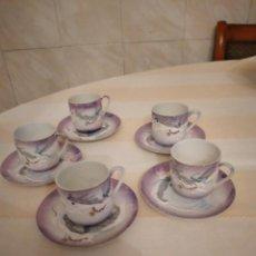 Antigüedades: ANTIGUO SERVICIO DE CAFÉ DE PORCELANA CHINA PINTADO A MANO CON IMAGEN DE GEISHA EN EL FONDO.10 PIEZA. Lote 252695530