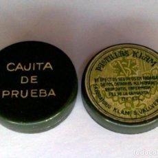 Antigüedades: CAJITA DE PRUEBA,PASTILLAS KLAM,LABORATORIOS KLAM,S.VALLVERDU DE REUS.. Lote 252757390