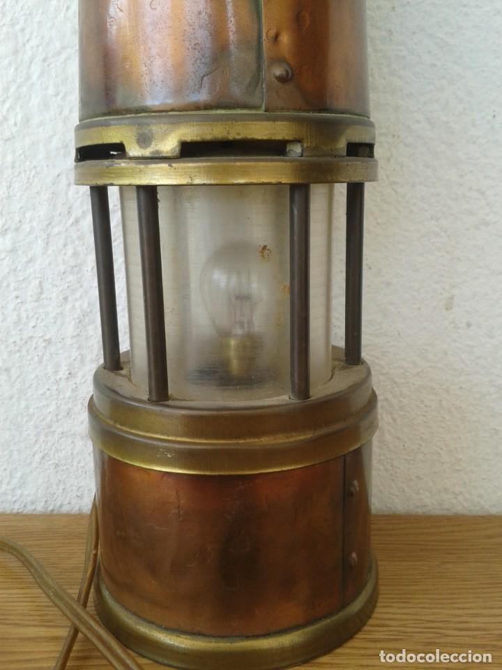 Antigüedades: ANTIGUO FAROL LAMPARA MARINERO EN COBRE Y LATON FUNCIONA - Foto 4 - 252769190