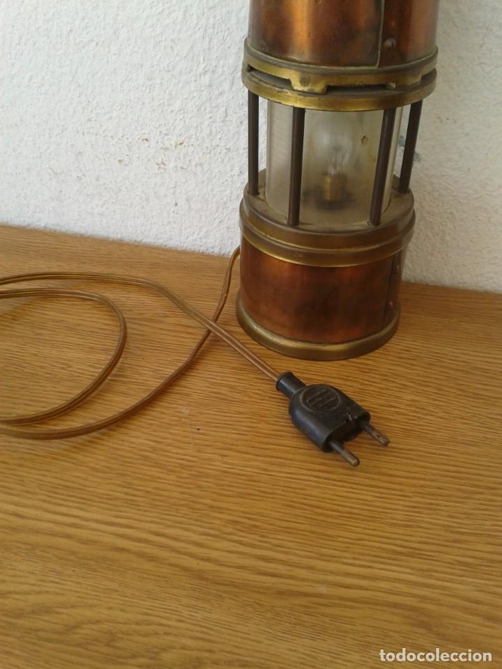 Antigüedades: ANTIGUO FAROL LAMPARA MARINERO EN COBRE Y LATON FUNCIONA - Foto 7 - 252769190