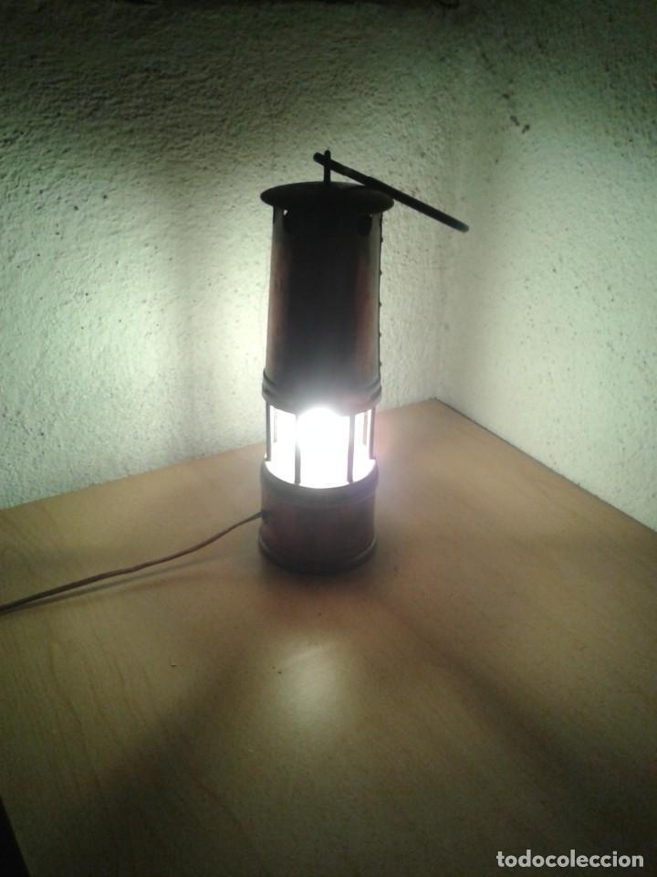 Antigüedades: ANTIGUO FAROL LAMPARA MARINERO EN COBRE Y LATON FUNCIONA - Foto 9 - 252769190