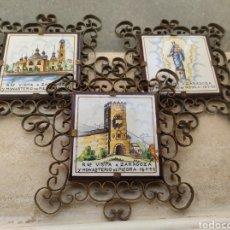 Antigüedades: LOTE DE 3 AZULEJOS RECUERDO VISITA A ZARAGOZA Y MONASTERIO DE PIEDRA 1953 - VIRGEN DEL PILAR -. Lote 210634810