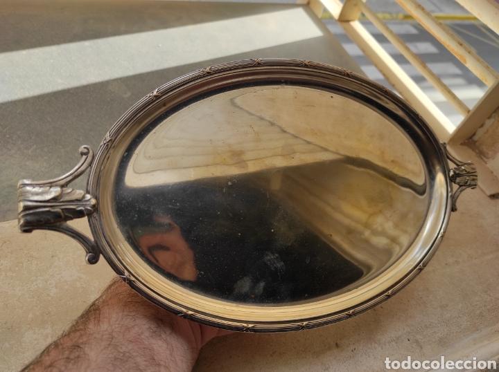 Antigüedades: Antigua Bandeja con Baño de Plata y Marcajes - Foto 5 - 252809175