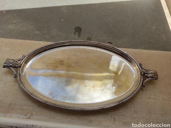ANTIGUA BANDEJA CON BAÑO DE PLATA Y MARCAJES (Antigüedades - Platería - Bañado en Plata Antiguo)