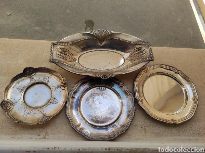 Antigüedades: Antiguo Lote de 4 Bandejas con Baño de Plata y Marcajes - Foto 14 - 252810375