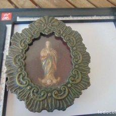 Antigüedades: RELICARIO EN METAL CON VIRGEN DE LA INMACULADA CONCEPCIÓN POLICROMADA. Lote 252968365