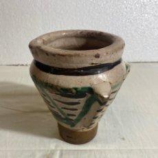 Antiquités: MORTERO EN CERÁMICA VERDE Y MANGANESO DE TERUEL, S XIX. Lote 252986285