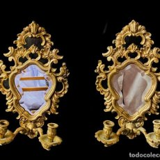 Antigüedades: ANTIGUA PAREJA DE ESPEJOS, CORNUCOPIAS CON CANDELERO. IMPERIO, NAPOLEÓN III. DORADAS. XIX. 32X20X10. Lote 253037890