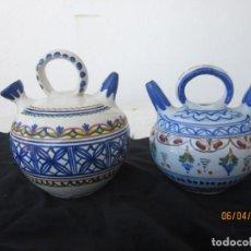 Antigüedades: LOTE DE DOS BOTIJOS PARA VINAGR E Y ACEITE DE TALAVERA. Lote 253141865
