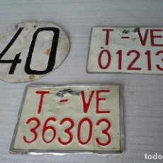 Antigüedades: TRES MATRICULAS AGRICOLAS DE TRACTOR O REMOLQUE. Lote 253271685