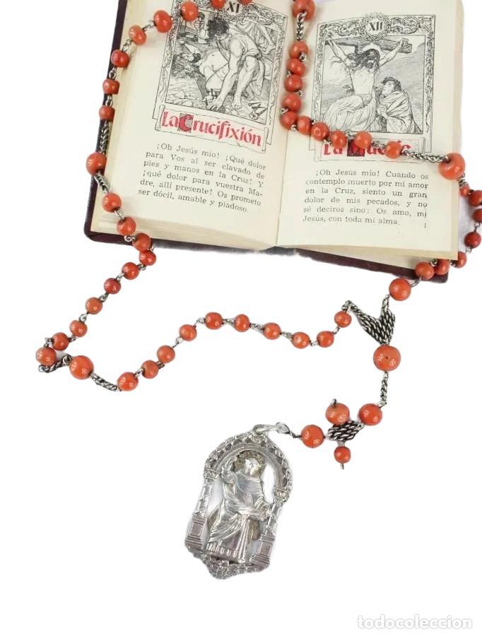 ROSARIO DE CORAL Y PLATA S XVIII CON GRAN MEDALLA VIRGEN DESAMPARADOS SAN VICENTE VALENCIA (Antigüedades - Religiosas - Rosarios Antiguos)