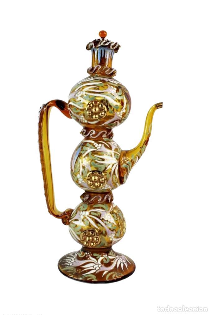 GRAN Y ÚNICO PORRÓN O JARRA EN CRISTAL SOPLADO Y ESMALTADO. GENÍS CIRERA. (1890-1970) 39X20CM (Antigüedades - Cristal y Vidrio - Catalán)