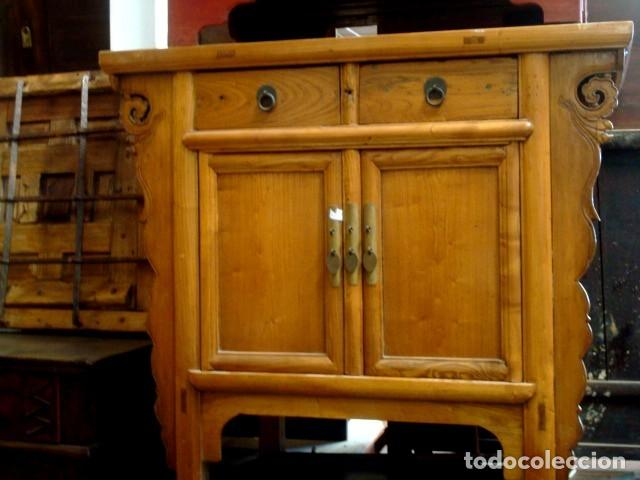 APARADOR BAJO CHINO ANTIGUO REALIZADO EN MADERA DE OLMO (Antigüedades - Muebles Antiguos - Aparadores Antiguos)