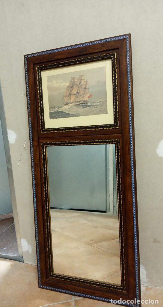 Antigüedades: Espejo Trumeau con lámina fragata - Foto 14 - 253353265