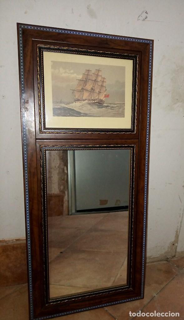 Antigüedades: Espejo Trumeau con lámina fragata - Foto 2 - 253353265