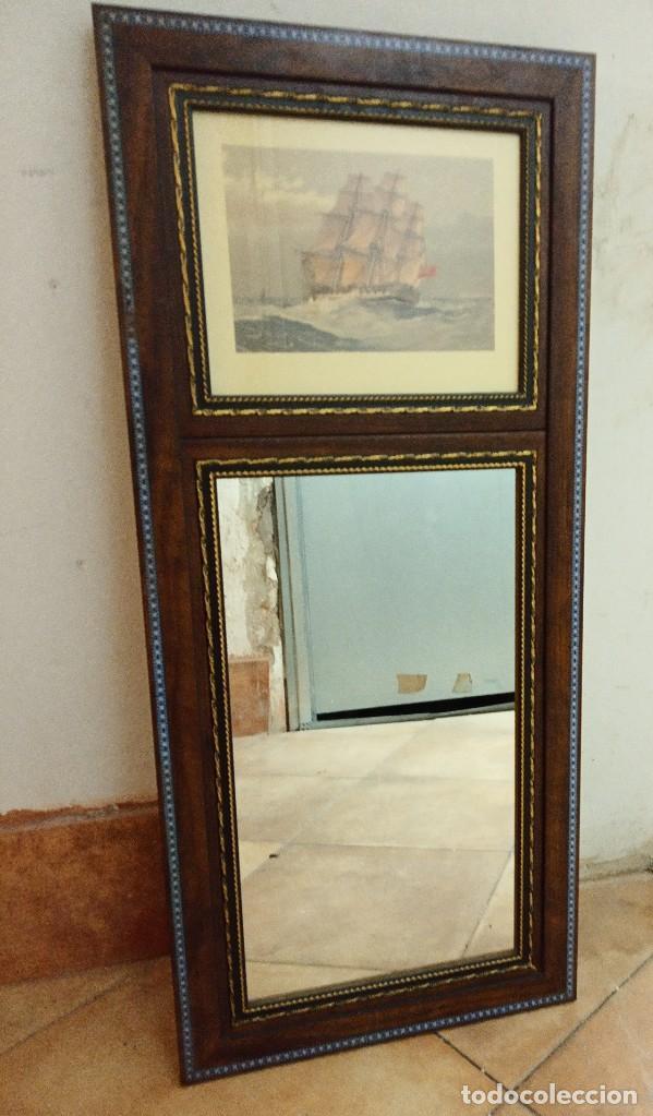 Antigüedades: Espejo Trumeau con lámina fragata - Foto 9 - 253353265