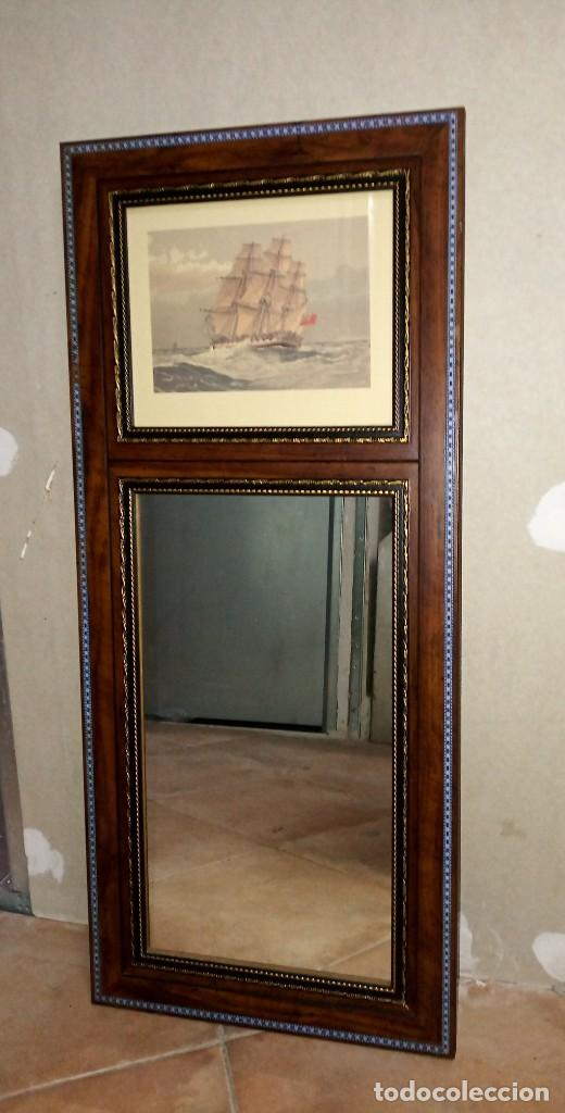 Antigüedades: Espejo Trumeau con lámina fragata - Foto 12 - 253353265