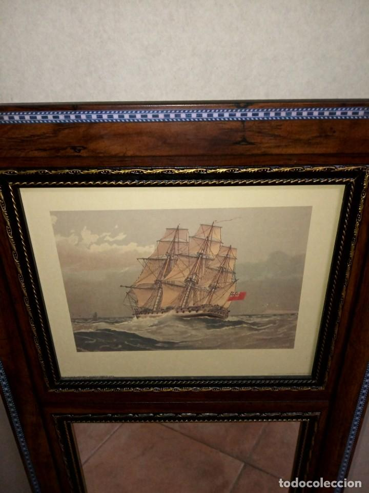 Antigüedades: Espejo Trumeau con lámina fragata - Foto 13 - 253353265
