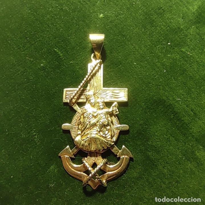 Antigüedades: Bella y pesada medalla de oro de 18k. marinera. Virgen del Carmen con ancla y timón. 15 gramos. - Foto 8 - 253360120