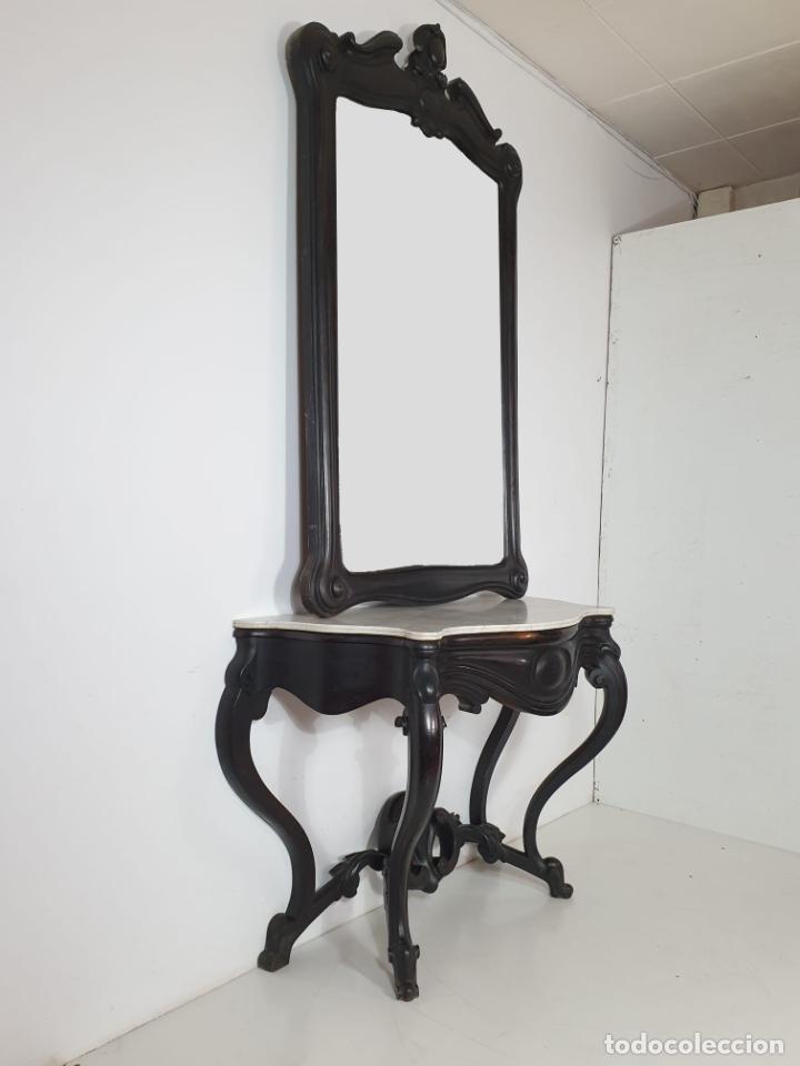 Antigüedades: Preciosa Consola Isabelina - Madera de Jacarandá - Espejo Antiguo Plateado - Mármol - S. XIX - Foto 2 - 253408780