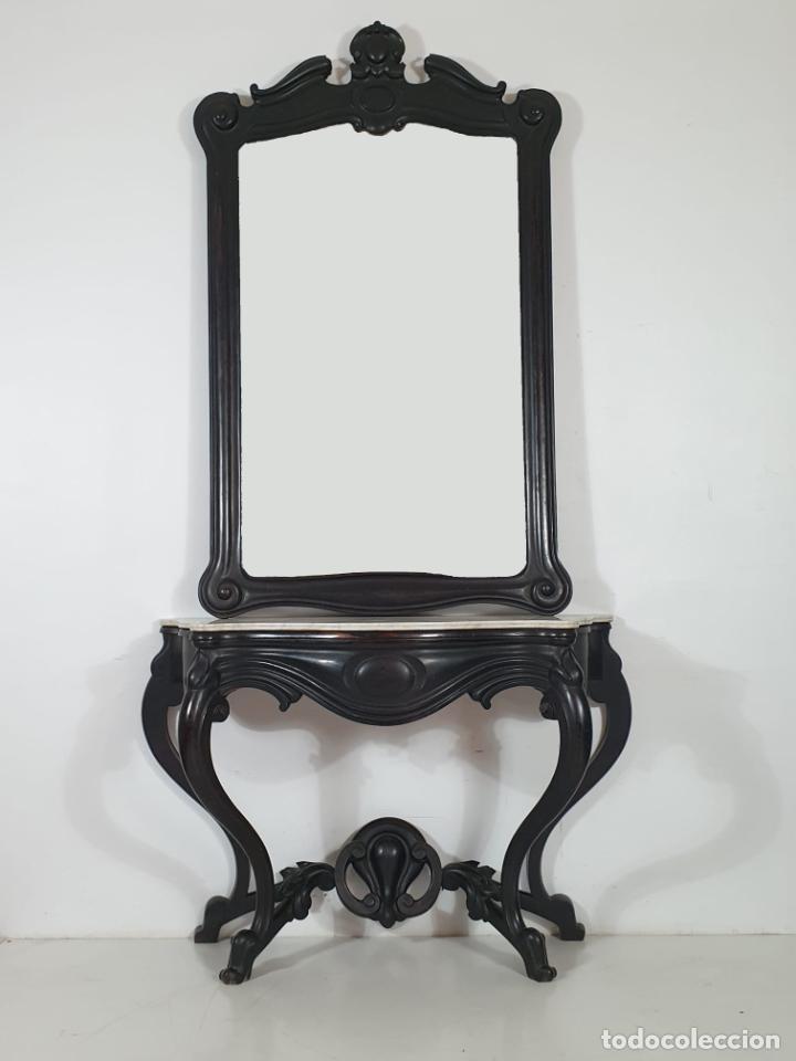 Antigüedades: Preciosa Consola Isabelina - Madera de Jacarandá - Espejo Antiguo Plateado - Mármol - S. XIX - Foto 15 - 253408780