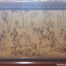 Antigüedades: TAPIZ ESCENA PUESTO DEL MERCADO ARABIA. Lote 253422345