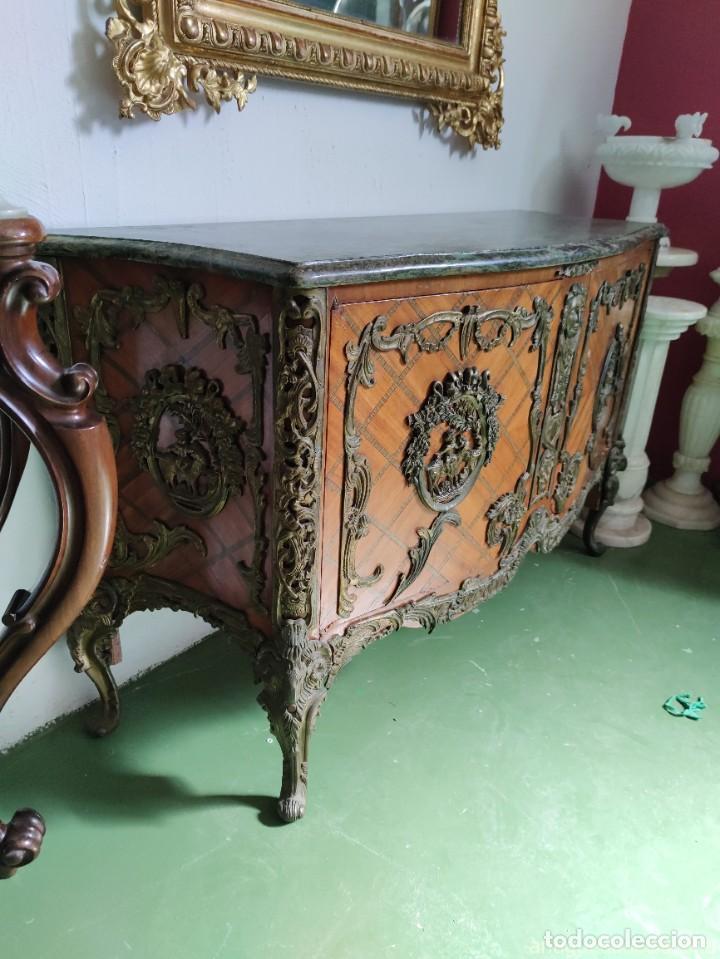 Antigüedades: Consola mueble con marquetería y tapa de mármol verde - Foto 2 - 253452480