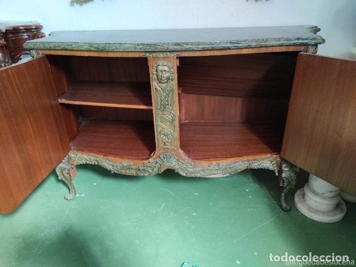 Antigüedades: Consola mueble con marquetería y tapa de mármol verde - Foto 3 - 253452480