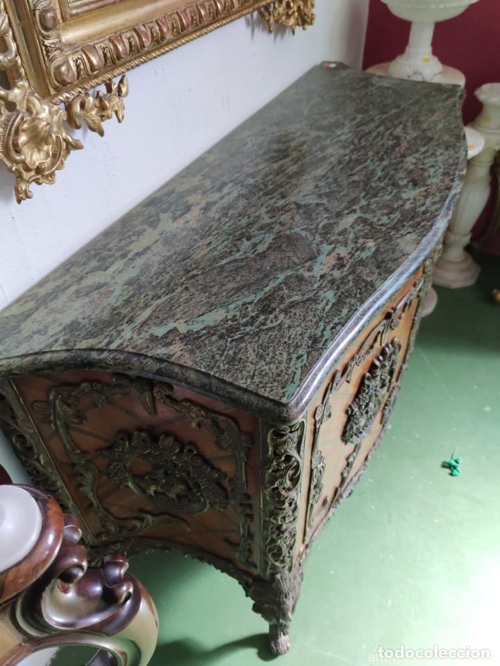 Antigüedades: Consola mueble con marquetería y tapa de mármol verde - Foto 4 - 253452480