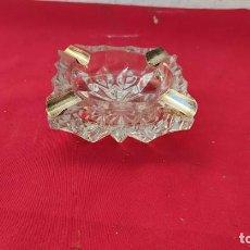 Antigüedades: CENICERO CRISTAL Y PLATA. Lote 253453740