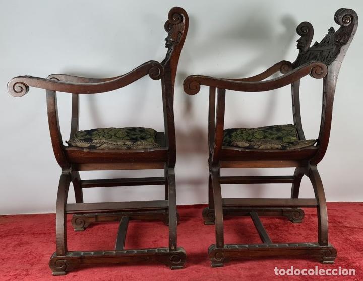 Antigüedades: PAREJA DE SILAS JAMUGA. MADERA DE NOGAL TALLADO. ESTILO BARROCO. SIGLO XIX. - Foto 3 - 253454590