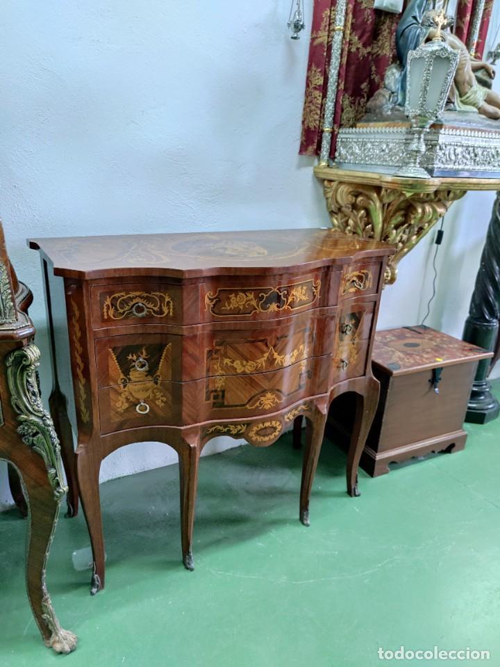 PAREJA CONSOLA MUEBLE MARQUETERÍA (Antigüedades - Muebles Antiguos - Consolas Antiguas)