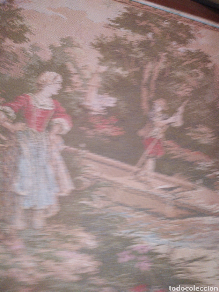 Antigüedades: ANTIGUO TAPIZ ENMARCADO ESCENA PASTORES VACA CHICO CHICA LAGO BOSQUE MONTAÑA PRECIOSO - Foto 5 - 253554005