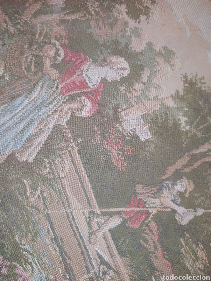 Antigüedades: ANTIGUO TAPIZ ENMARCADO ESCENA PASTORES VACA CHICO CHICA LAGO BOSQUE MONTAÑA PRECIOSO - Foto 7 - 253554005